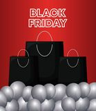 Black friday label with bags shopping and balloons air. Vector illustration design vector illustration