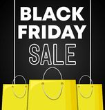 Black friday label with bags shopping. Vector illustration design royalty free illustration