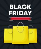 Black friday label with bags shopping. Vector illustration design stock illustration