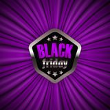 Black friday label. With ribbon on purple drapery background for design, marketing, promotion, poster, flyer, web, card, invitation. Holiday sticker, badge with Stock Photo