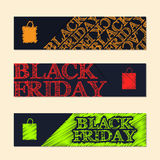 Black friday label set with scribbled elements Royalty Free Stock Photography