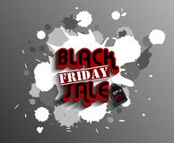 Black friday label template set for advertising sale print with white expressive ink blot splash Royalty Free Stock Photo