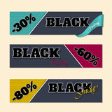 Black friday labels with discounts Royalty Free Stock Images