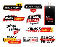 Black friday labels. Sale sticker for thanksgiving fridays sales, shopping tag stickers label designs vector set vector illustration