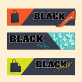 Black friday labels with shopping bags Stock Images