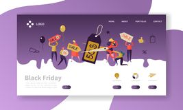 Black Friday Landing Page Template. Seasonal Discount Website Layout with Flat People Characters on Shopping. Easy to Edit and Customize Mobile Web Site royalty free illustration