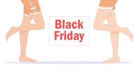 Black Friday. Legs in white stockings. vector illustration