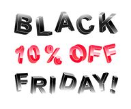 Black Friday lettering banner of 3d letters. At different angles of black and red with indication 10 percent off. Eps 10 vector vector illustration