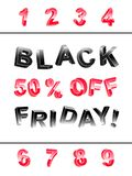 Black Friday lettering banner kit of 3d letters. At different angles of black and red with indication 50 % off with set of numbers 1, 2, 3, 5, 6, 7, 8, 9 to use stock illustration