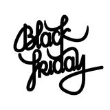 Black Friday lettering. Black Friday calligraphy text. Design. Flat design idea usable for posters, banners and web Stock Images