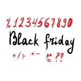 Black friday lettering and a stock image