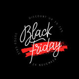 Black Friday. Lettering and calligraphy. Black Friday. Super sale. 24 November. Discounts up to 75%. Vector illustration on a black background. Design concept Royalty Free Stock Images