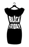 Black Friday lettering on the fashionable black dress. Vector icon poster little black dress - Black Friday. Stock Photography