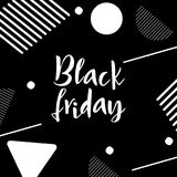 Black Friday lettering. Hand made calligraphy. Sale banner. Memphis style card. Vector illustration Stock Photos