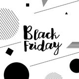 Black Friday lettering. Hand made calligraphy. Sale banner. Memphis style card. Vector illustration Royalty Free Stock Image