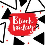 Black Friday lettering. Hand made calligraphy. Sale banner. Memphis style card. Vector illustration Royalty Free Stock Photo