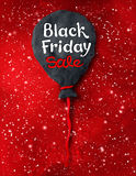 Black Friday lettering and plasticine balloon. Vector illustration with Black Friday lettering and hand made plasticine balloon on red festive grunge background Royalty Free Stock Photography