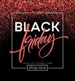 Black Friday lettering. Red glitter sparkle. Vector illustration royalty free illustration