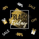 Black Friday lettering typography design with glitter brush stroke and square frame, gifts, discount on a black Royalty Free Stock Images