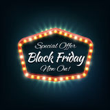 Black friday light frame, vector retro billboard Stock Photo