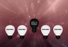 Black Friday: Lightbulbs met tekst royalty-vrije illustratie