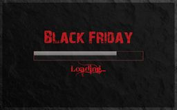 Black Friday Loading written in Red text and Gradient Loading Bar on Stone background. Cool Modern Black and Gray Background. Black Friday Loading written in royalty free stock images