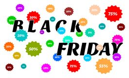 Black Friday - a lot of sales, percentages and colors royalty free illustration