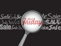 Black friday magnify glass illustration Royalty Free Stock Photos