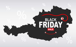 Black Friday Map - Austria. Illustration royalty free illustration