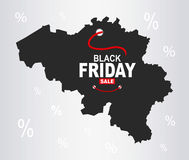Black Friday Map - Belgium Stock Photos