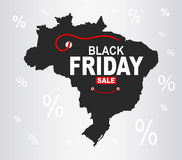 Black Friday Map - Brazil Stock Photo