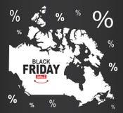 Black Friday Map - Canada. Illustration royalty free illustration