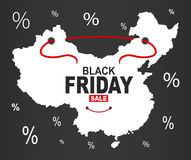 Black Friday Map - China white. Illustration Royalty Free Stock Image