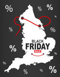 Black Friday Map - England white Royalty Free Stock Images