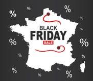 Black Friday Map - France white. Illustration Royalty Free Stock Photos