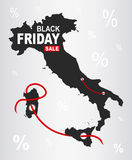 Black Friday Map - Italy. Illustration royalty free illustration