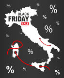 Black Friday Map - Italy white Stock Photography