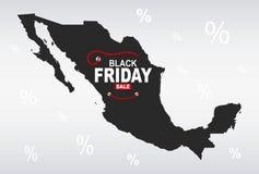 Black Friday Map - Mexico. Illustration Stock Photos