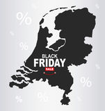 Black Friday Map - Netherlands Royalty Free Stock Photography