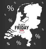 Black Friday Map - Netherlands white Stock Image