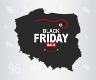 Black Friday Map - Poland. Illustration vector illustration