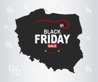 Black Friday Map - Poland. Illustration Royalty Free Stock Photos
