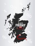 Black Friday Map - Scotland. Illustration Royalty Free Stock Images