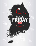 Black Friday Map - South Korea. Illustration stock illustration