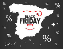 Black Friday Map - Spain white. Illustration Royalty Free Stock Image