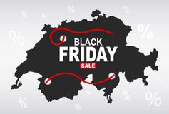 Black Friday Map - Switzerland Stock Image