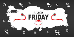 Black Friday Map - Turkey white Royalty Free Stock Photography