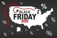 Black Friday Map - USA white. Illustration Stock Images