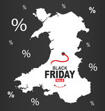 Black Friday Map - Wales white. Illustration vector illustration