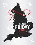Black Friday mapa - Anglia royalty ilustracja